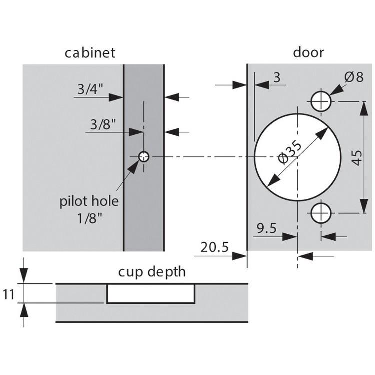 Blum 38N358C.06 Compact 38N Face Frame Hinge, Self-Close, 107 Degree, 3/8 Overlay, Dowel :: Image 60