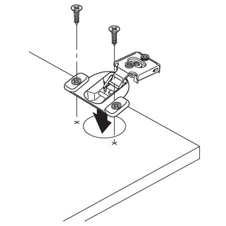 Blum 38N355C.06 Compact 38N Hinge, Self-Close, 107 Degree, 3/8 Overlay, Screw-on :: Image 50