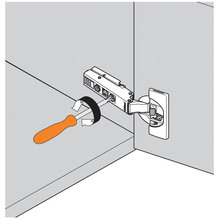 Blum 71B950A 95 Degree CLIP Top BLUMOTION Narrow Aluminum Door Hinge, Soft-Close, Full Overlay, Screw-on :: Image 100