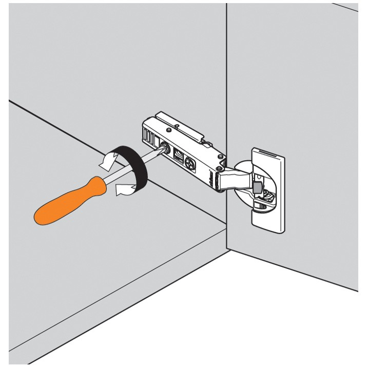 Blum 71B9680 95 Degree CLIP Top BLUMOTION Hinge, Soft-Close, Half Overlay, Dowel :: Image 110