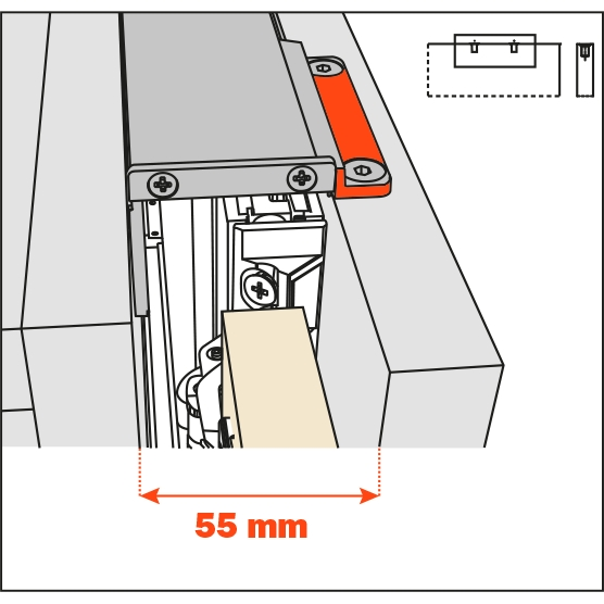 Salice Pocket Door Lateral Kit 55mm for Cabinet Depth 650-900mm, YE55KIT0002 :: Image 10