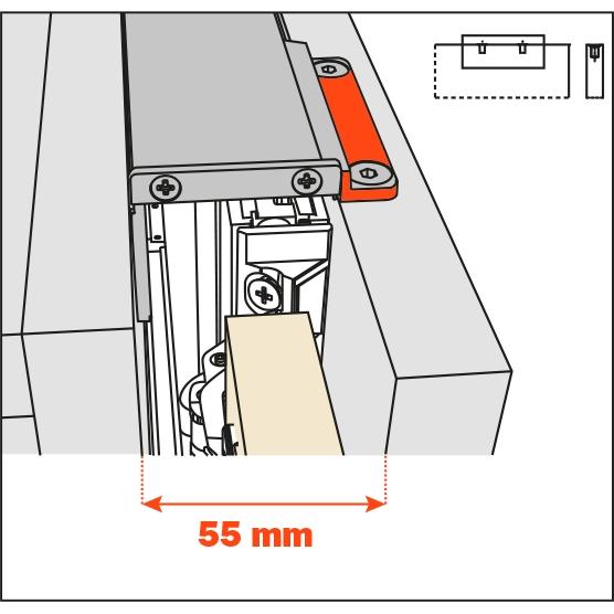 Salice Pocket Door Lateral Kit 55mm for Cabinet Depth 400-650mm, YE55KIT0001 :: Image 10