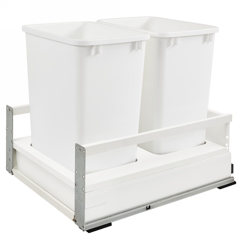 Rev-A-Shelf TWCSD-21DM-2, Double 35 Qt., Bottom Mount Trash Pull-Out, Blum Tandem, Servo, White :: Image 10