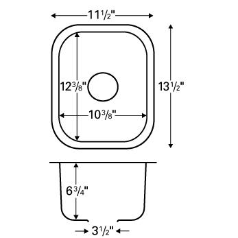 "Karran U1113, 11-1/2"" x 13-1/2"" Undermount Bar/ Prep Sink, Single Bowl, Stainless Steel :: Image 20"