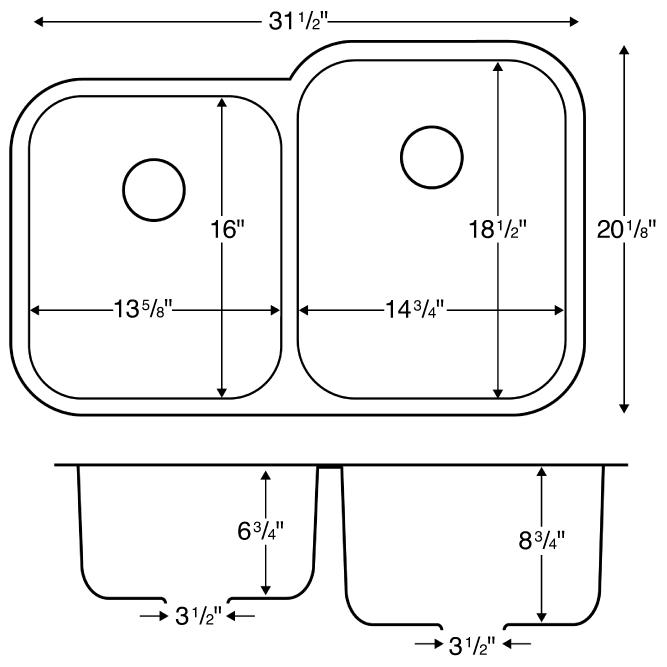 "Karran U6040L, 31-1/2"" x 20-1/8"" Undermount Bar/ Prep Sink, Single Bowl, Stainless Steel :: Image 20"
