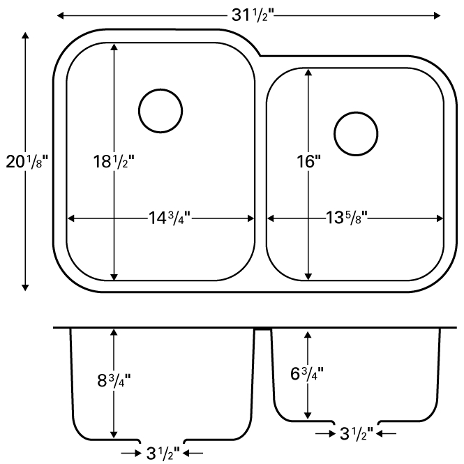 "Karran U6040R, 31-1/2"" x 20-1/8"" Undermount Bar/ Prep Sink, Single Bowl, Stainless Steel :: Image 20"