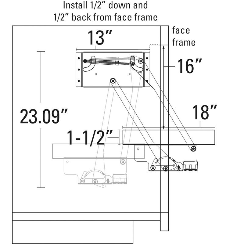 KV HAL-20, Mixer Lift-Up with a Gas Cylinder Assist, KV Series, Platinum, Hardware Mechanism Only (Does not include a platform), Knape and Vogt :: Image 30