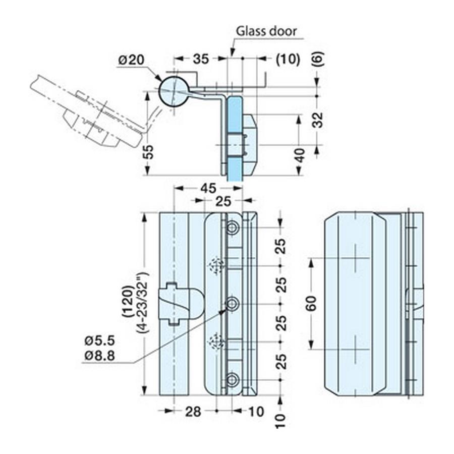 Glass Door Gravity Hinge 20-70 Degree RH Sugatsune XL-GH02F-120R Line Drawing