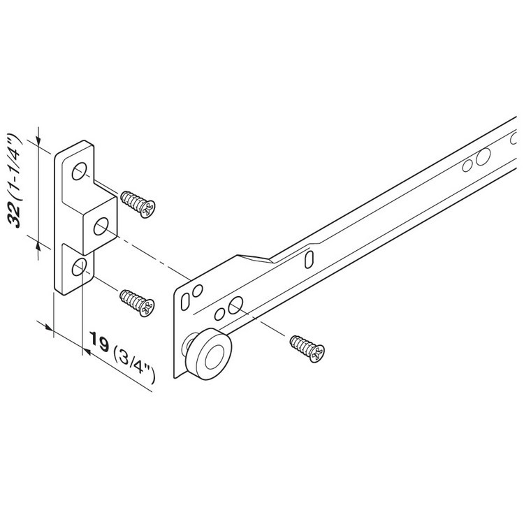Blum 60.2750.0000 HD Spacer for Blum Standard 230M & 430E Epoxy Drawer Slide :: Image 40