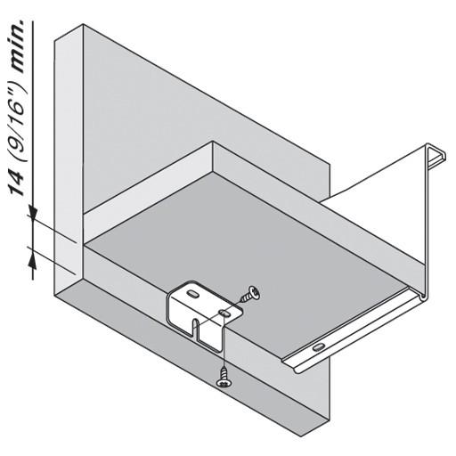Blum ZSB.0090.01 METABOX Center Support Bracket for Wide Drawers :: Image 20
