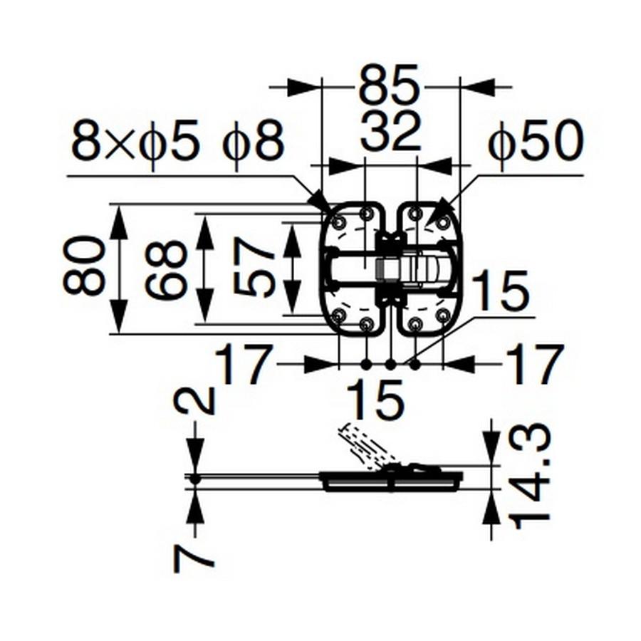 Recess Mount Center Hinge-Folding Doors Black Sugatsune FD30-CHH Line Drawing