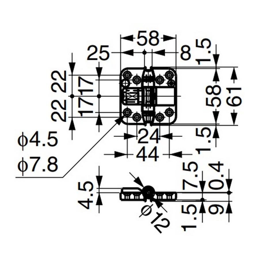 Edge Mount Center Hinge for Folding Doors Brown Sugatsune FD30-CHK Line Drawing
