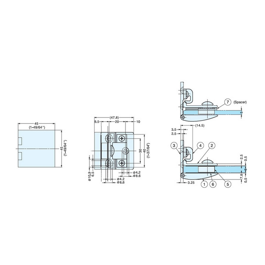 GH-450 Glass Door Hinge Technical Line Drawing
