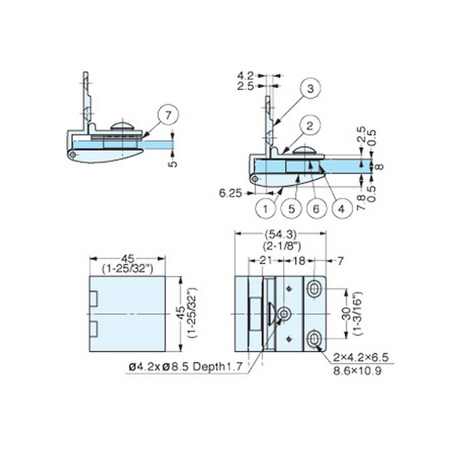 GH-456 Glass Door Hinge Technical Line Drawing
