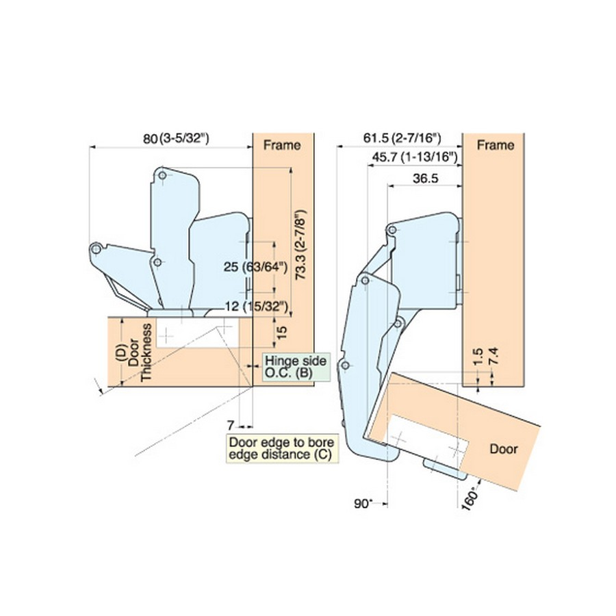 H160 Series Hinges Technical Specs Line Drawing