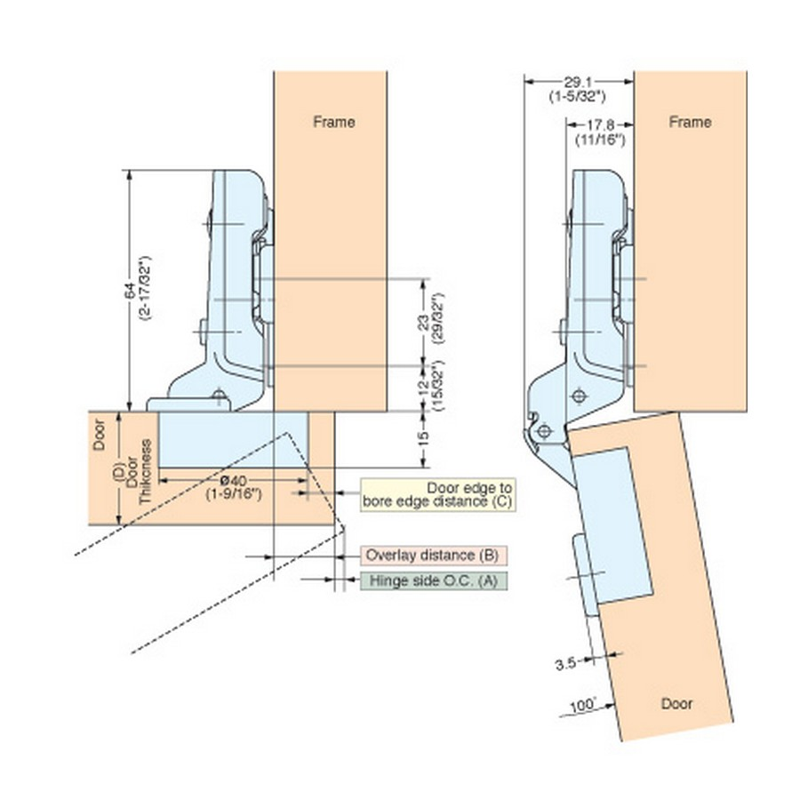 H230 Series Hinges Technical Specs Line Drawing