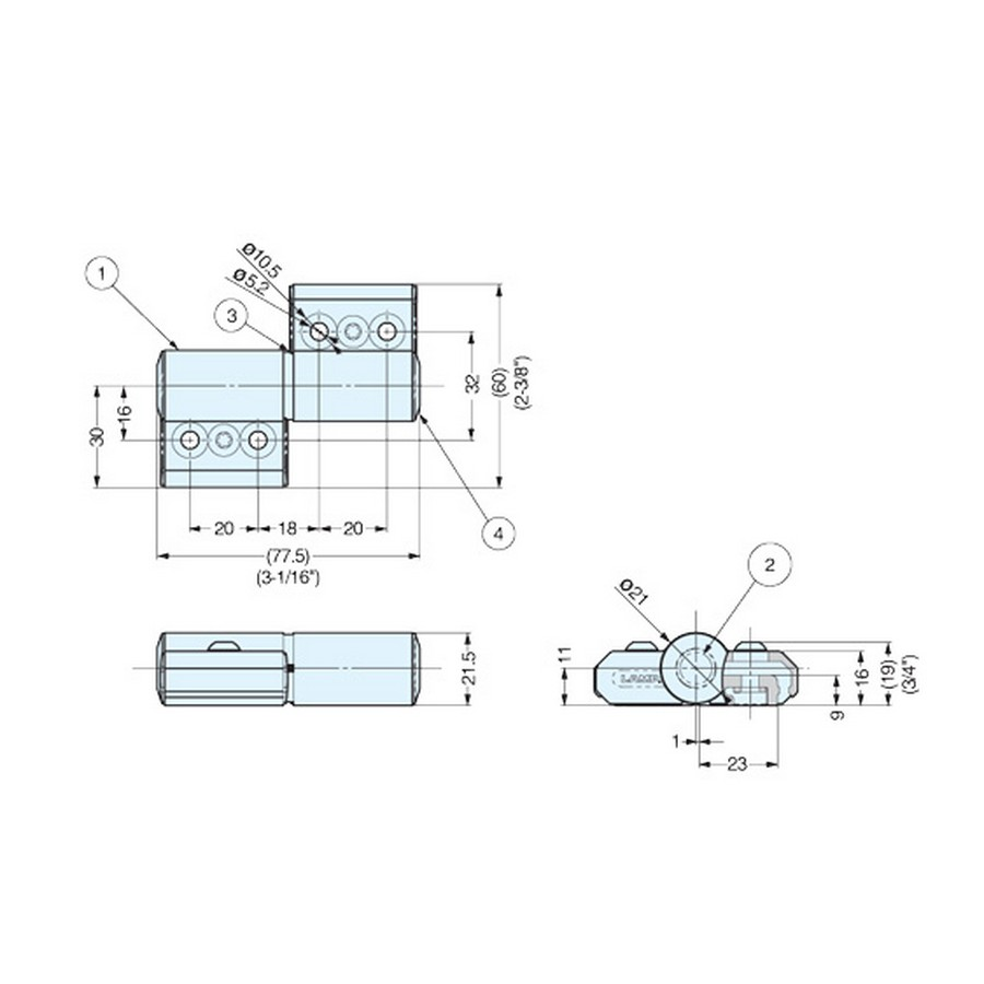 One-Way Torque Hinge-Downward Sugatsune HG-TQA90-B Line Drawing