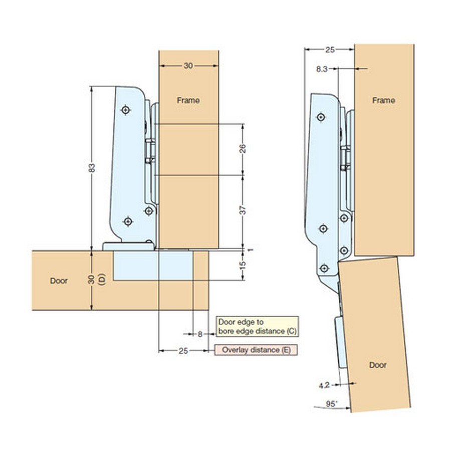 J95 Series Hinges Technical Specs Line Drawing
