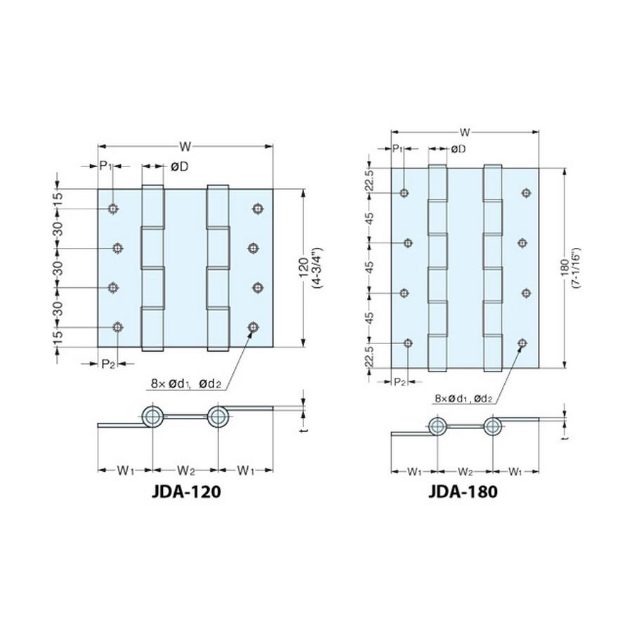 JDA Series Hinges Technical Line Drawing