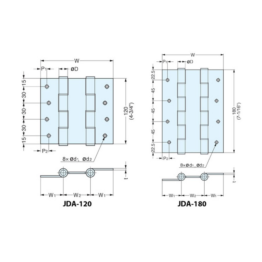 JDA Series Hinges Technical Line Drawing