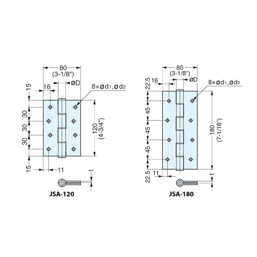 JSA Series Hinges Technical Line Drawing