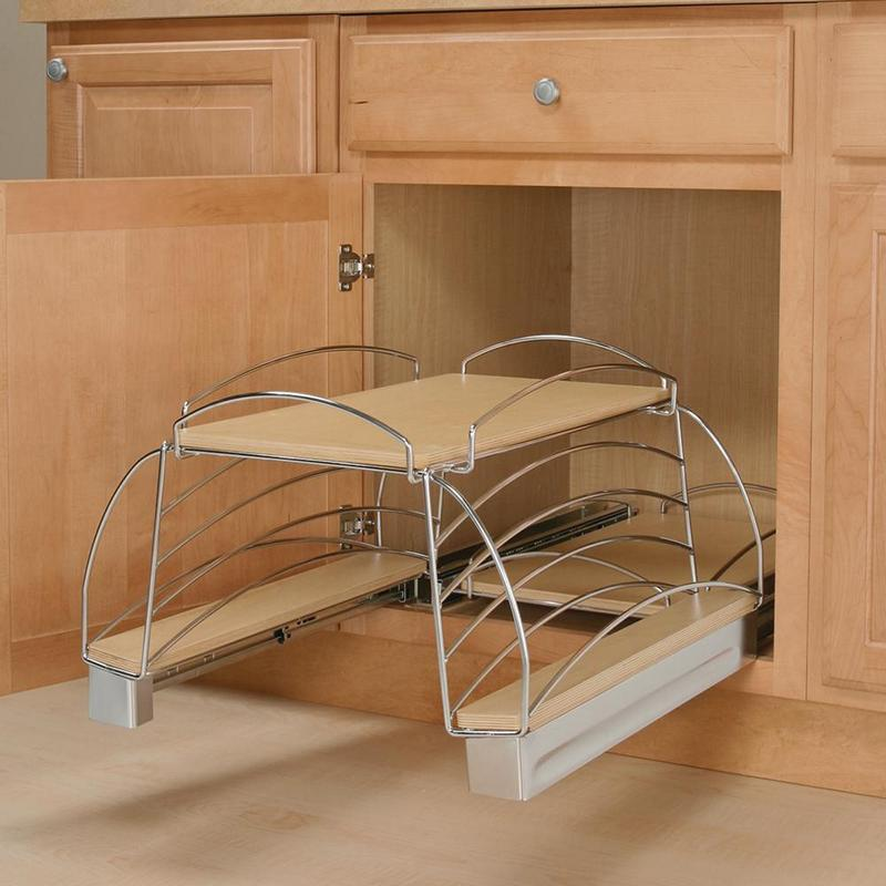 KV SPS21-FN, 19-1/2 Pot & Pan Organizer Base Pull-Out, Birch Shelves w/ Frosted Nickel Fence, 19-1/2 W x 22-1/4 D x 14-1/4 H :: Image 20