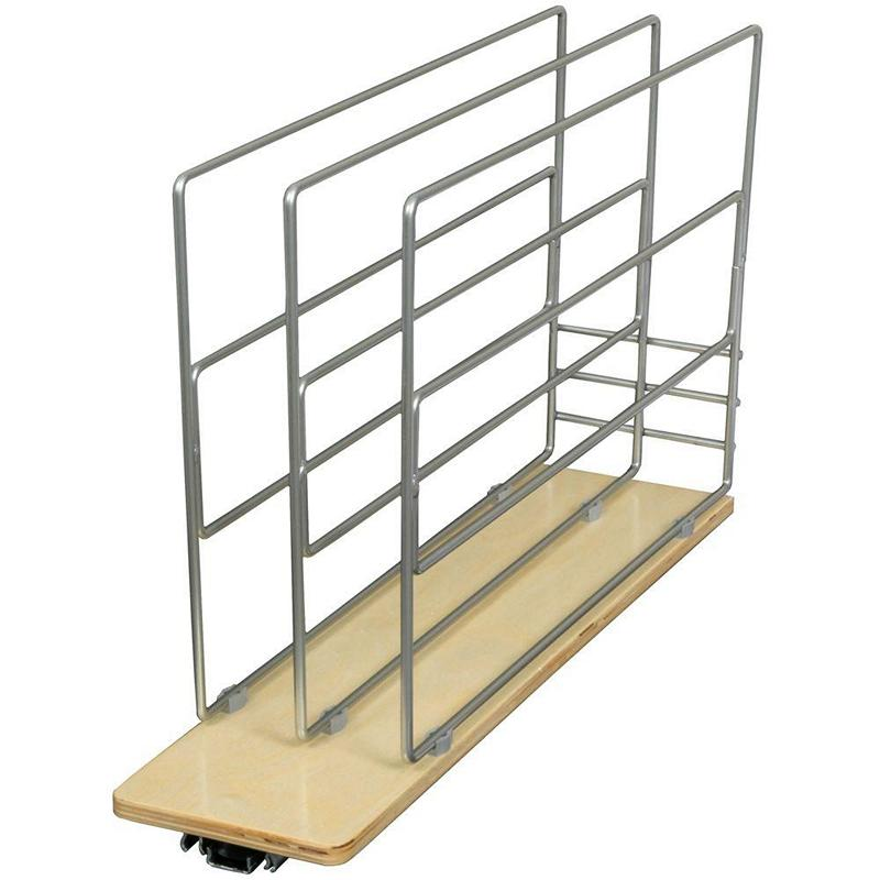 KV TDRO-FNW-6, 5-15/16 Wood Tray Divider Roll-Out, KV Series, Frosted Nickel, 5-15/16 W x 22-1/4 D x 14 H, Knape and Vogt :: Image 10