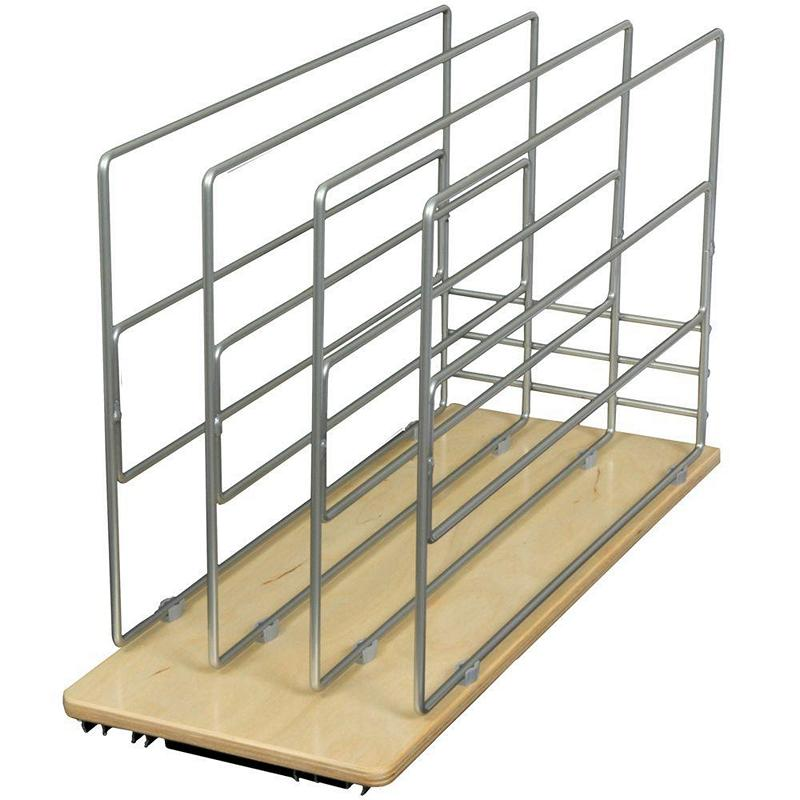 KV TDRO-FNW-9, 8-11/16 Wood Tray Divider Roll-Out, KV Series, Frosted Nickel, 8-11/16 W x 22-1/4 D x 14 H, Knape and Vogt :: Image 10