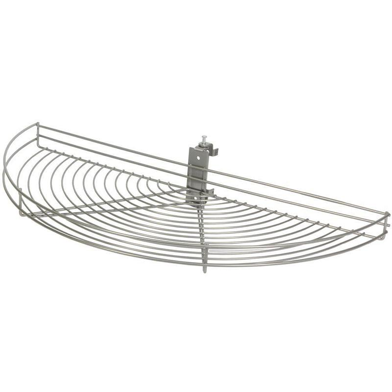KV HM25-FN, 24-1/2 Wire Half Moon Lazy Susan, Frosted Nickel, 1-Shelf Sets w/ Hardware, 24-1/2 L x 11-7/8 W, Pivot-Out Motion, Min Opening 12-3/8 :: Image 10