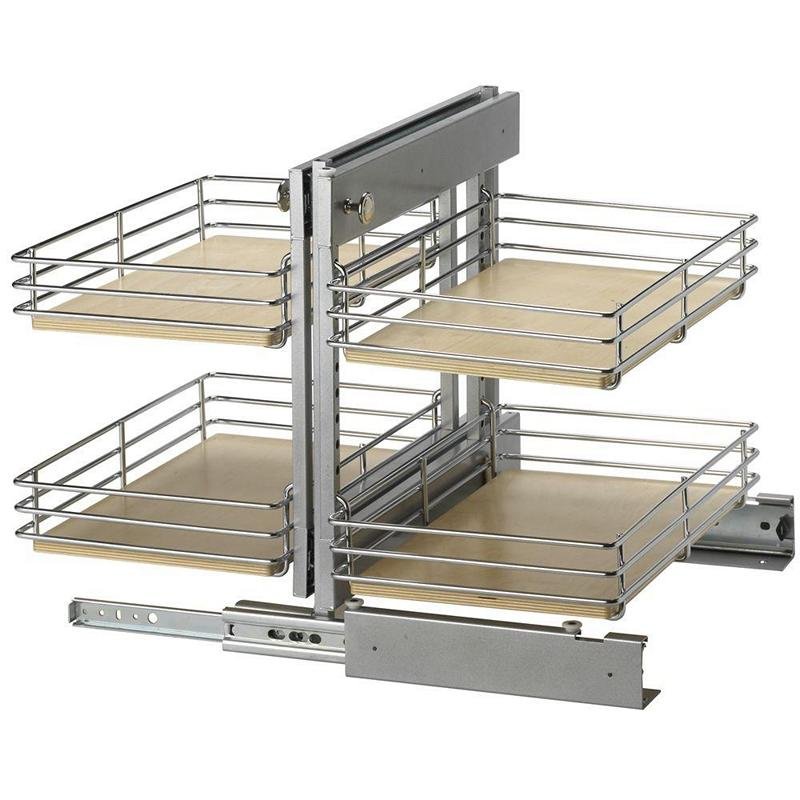 KV BBCT-L-15-FN, Blind Corner Pull-Out Set, KV Series, Frosted Nickel Wire with Wood Shelves, Door on Left, 15in Opening, Knape and Vogt :: Image 10