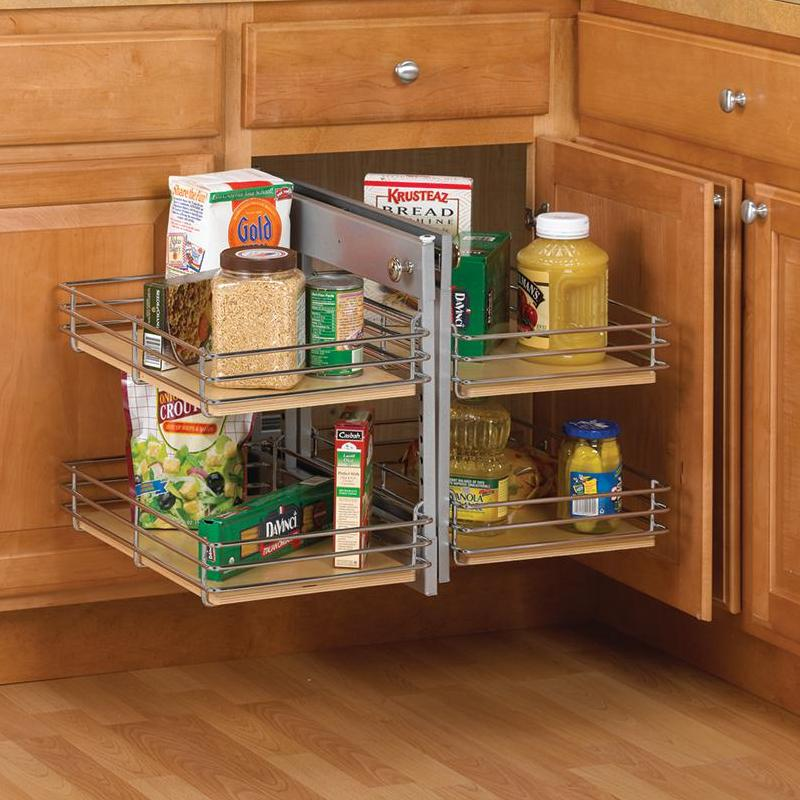 KV BBCS-R-15-FN, Blind Corner Pull-Out Set, KV Series, Frosted Nickel Wire with Wood Shelves, Door on Right, 15in Opening, Knape and Vogt :: Image 20