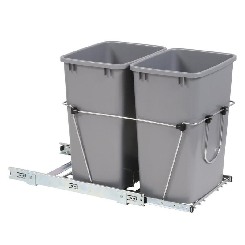 Rev-A-Shelf RV-18KD-17C S Double 35 Qt. Bottom Mount Trash Pull-Out, Full Ext Slides, Silver :: Image 10