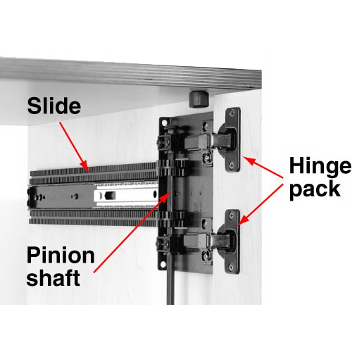 Image with parts of the pocket door assembly labeled.