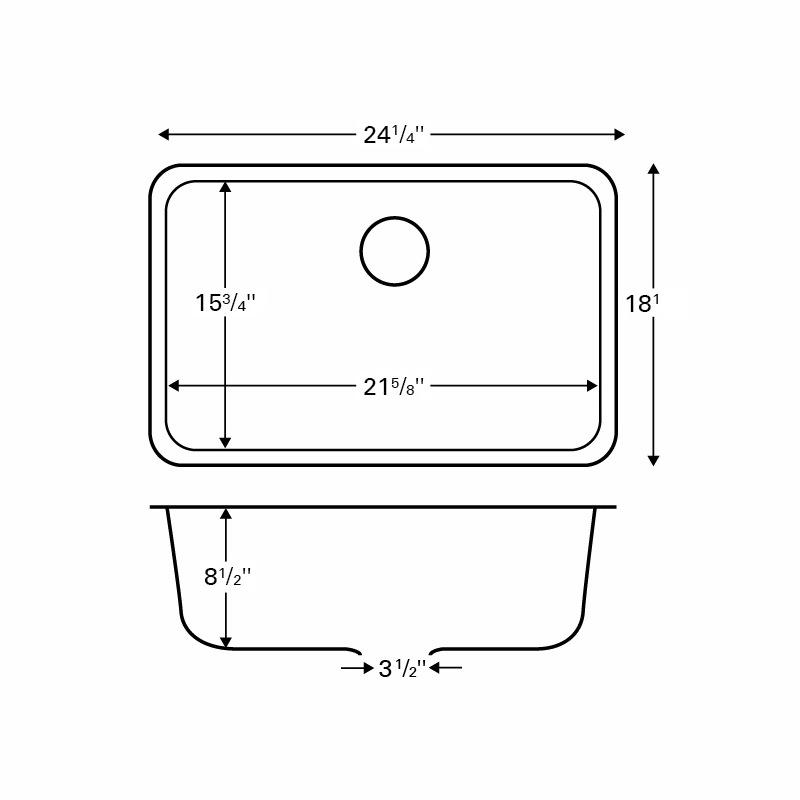"Karran Q320BLACK, 24-1/4"" x 18-1/4"" Quartz Undermount Kitchen Sink Single Bowl, Black :: Image 20"