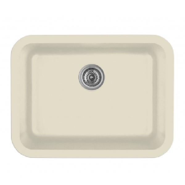 """24"""" Seamless Undermount Single Bowl Quartz Kitchen Sink Bisque Karran Q-320-BI"""