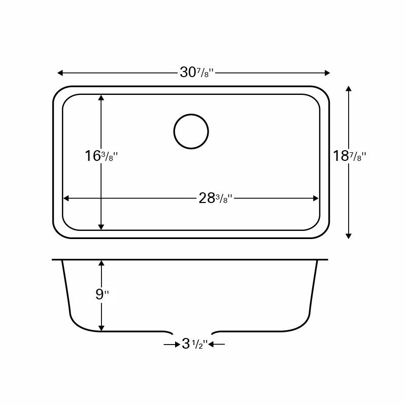 """Karran Q340CONCRETE,  30-7/8"""" x 18-7/8"""" Quartz Undermount Kitchen Sink Extra Large Single Bowl, Concrete :: Image 10"""