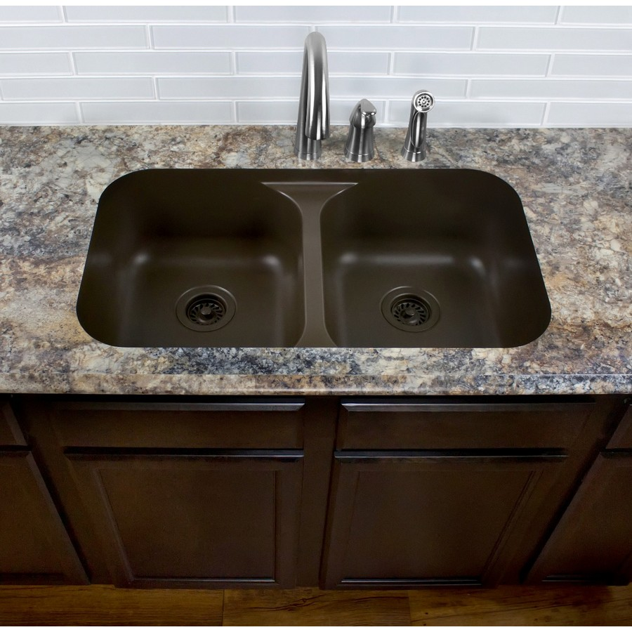 "32"" Seamless Undermount Double Equal Bowl Quartz Kitchen Sink Brown Karran Q-350-BR :: Image 30"