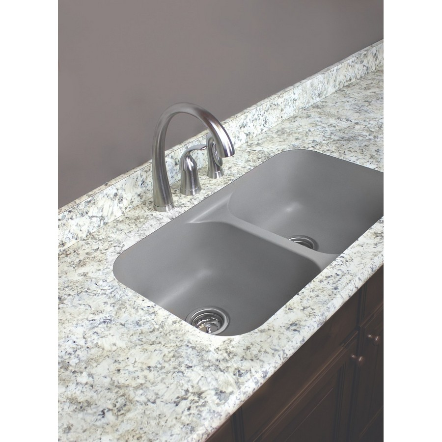 "32"" Seamless Undermount Double Equal Bowl Quartz Kitchen Sink Grey Karran Q-350-GR :: Image 30"