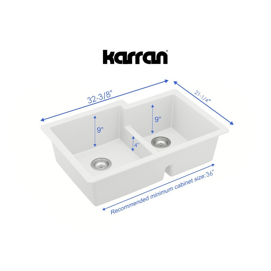 "32"" Undermount Large/Small Bowl Quartz Kitchen Sink White Karran QU-811-WH :: Image 20"