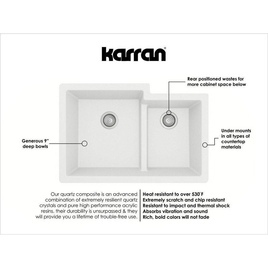 "32"" Undermount Large/Small Bowl Quartz Kitchen Sink White Karran QU-811-WH :: Image 30"