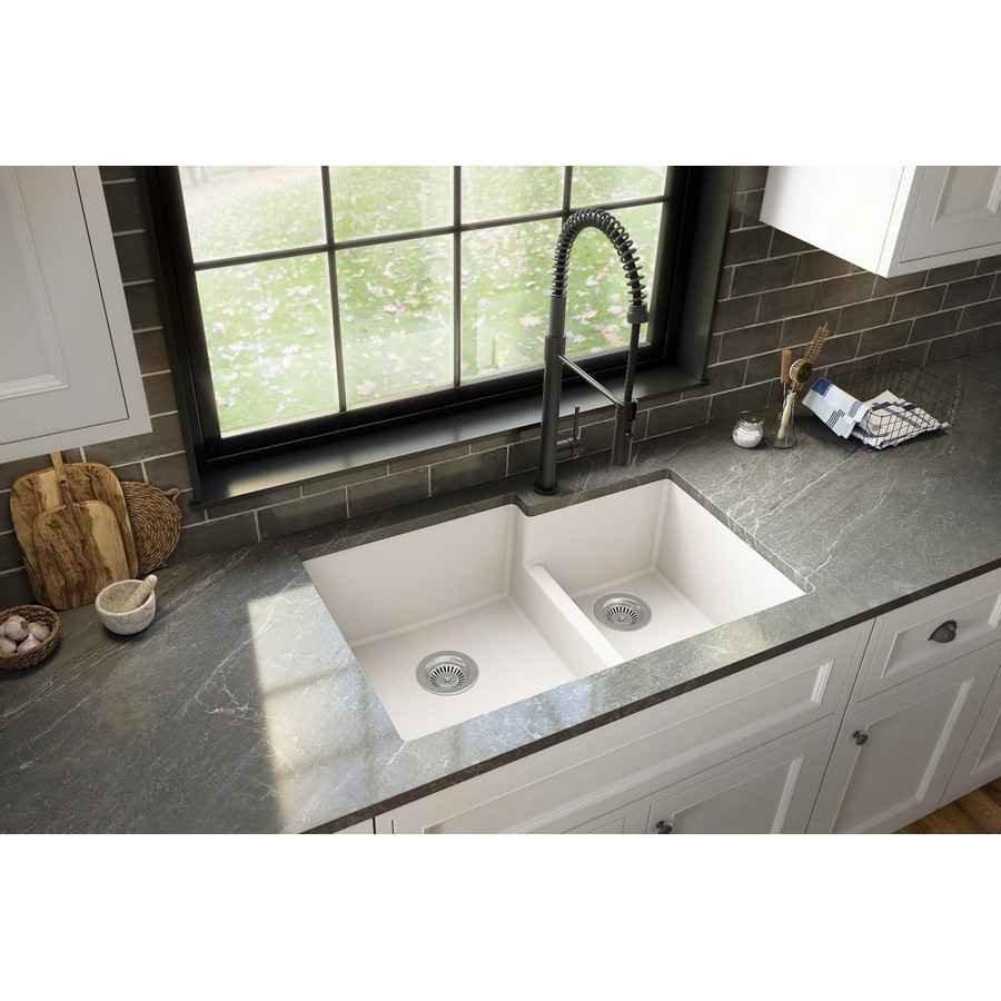 "32"" Undermount Large/Small Bowl Quartz Kitchen Sink White Karran QU-811-WH :: Image 40"