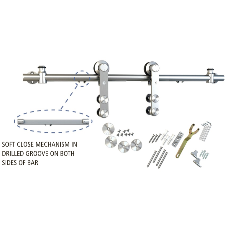 Barn Door Hardware Kit with Soft-Close, Round Rail, Face Mount, Stainless Steel, WE Preferred 77113 56 002 :: Image 20