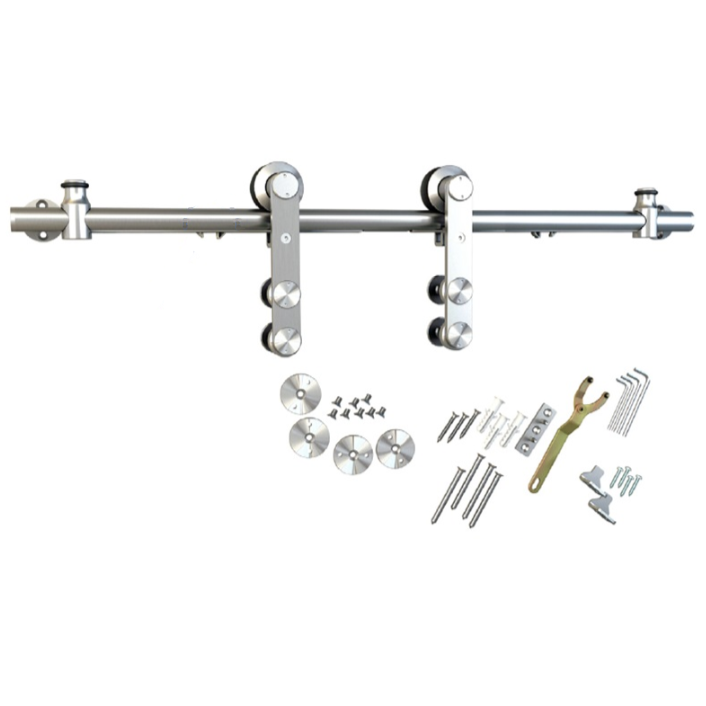 Barn Door Hardware Kit with Soft-Close, Round Rail, Face Mount, Stainless Steel, WE Preferred 77113 56 002 :: Image 10