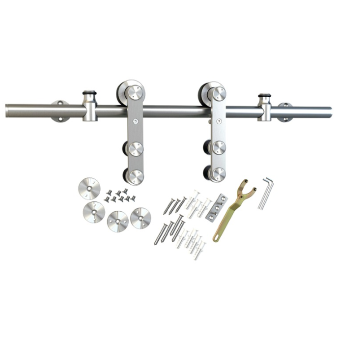 Barn Door Hardware Kit with Standard-Close, Round Rail, Face Mount, Stainless Steel, WE Preferred 77114 56 001 :: Image 10