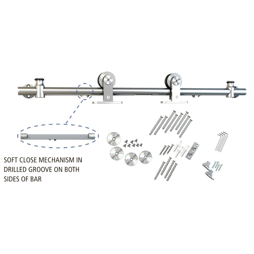 Barn Door Hardware Kit with Soft-Close, Round Rail, Top Mount, Stainless Steel, WE Preferred 77123 56 004 :: Image 20