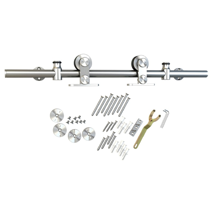 Barn Door Hardware Kit with Standard-Close, Round Rail, Top Mount, Stainless Steel, WE Preferred 77124 56 003 :: Image 10