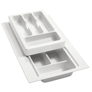 "8-3/4"" to 11-3/4"" 2-Tiered Cutlery Drawer Insert, Plastic, White, Rev-A-Shelf RT 10-3F :: Image 10"
