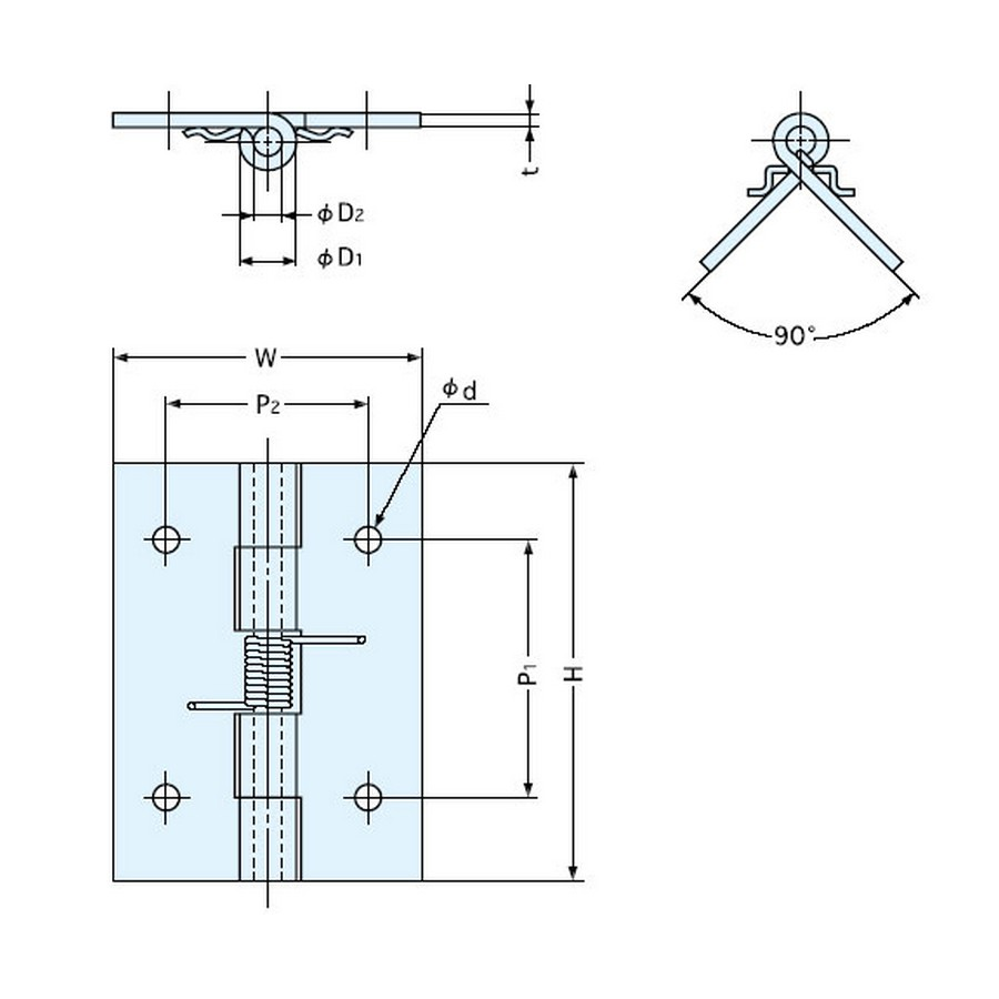 "Spring Butt Hinge 2"" Stainless Steel Sugatsune HG-SH51C Line Drawing"
