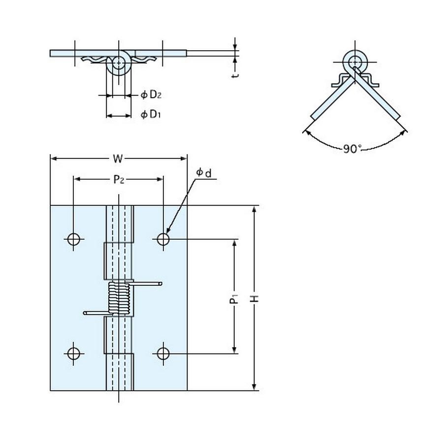 "Spring Butt Hinge 2"" Stainless Steel Sugatsune HG-SH51C Line Drawing"