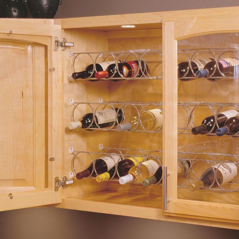 KV WR23.62-FN, 23-5/8 Wine Bottle Rack, KV Series, Frosted Nickel, 5 Rings on the Rack, 23-5/8 L X 4-1/4 H, Knape and Vogt :: Image 20